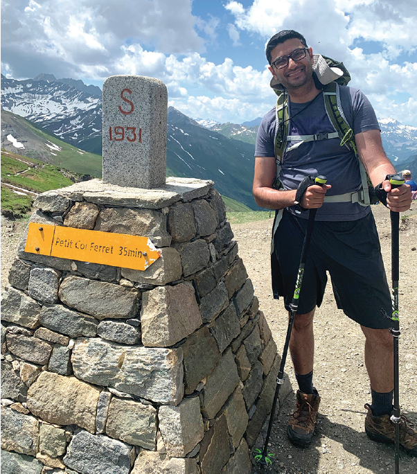 <p>Dr. Grewal pictured on a hike of the Tour du Mont Blanc trail in Europe.</p>