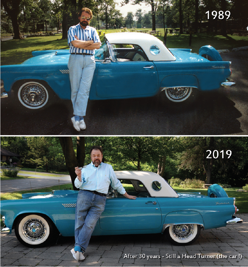 <p>Dr. Packo with his show-stopping 1956 Thunderbird. His love of toys shows.</p>