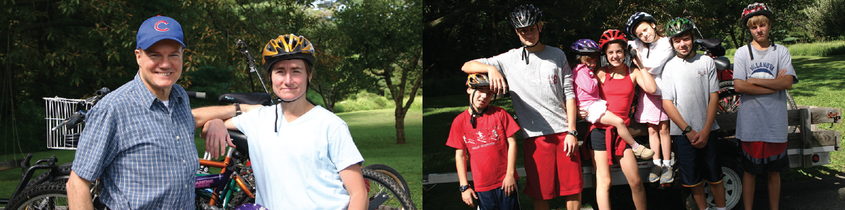 <p>Drs. Carol and Jerry Shields (left photo) set out on a bike riding adventure with their seven children (right photo) approximately 15 years ago.</p>