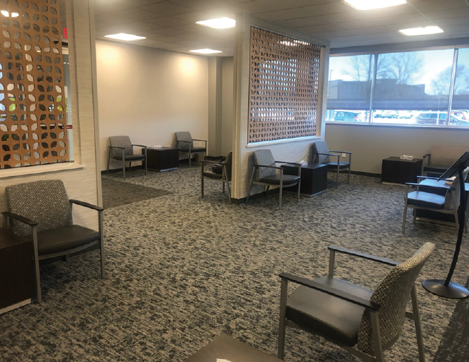 <p>Figure. Seats in the waiting room at VitreoRetinal Surgery PA in Woodbury, Minnesota, have been moved further apart.</p>